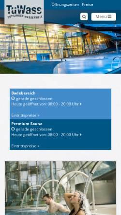 Vorschau der mobilen Webseite www.tuwass.de, TuWass - Tuttlinger Wasserwelt