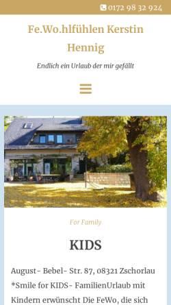 Vorschau der mobilen Webseite www.ferienwohnung-hennig.de, Ferienwohnung Kerstin Hennig