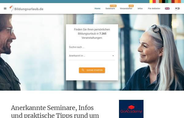 Vorschau von www.bildungsurlaub.de, Bildungsurlaub