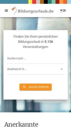 Vorschau der mobilen Webseite www.bildungsurlaub.de, Bildungsurlaub