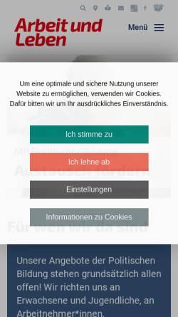 Vorschau der mobilen Webseite www.arbeitundleben.de, Bundesarbeitskreis Arbeit und Leben DGB/VHS