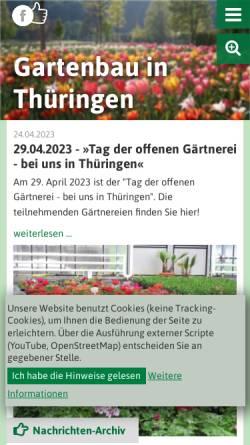 Vorschau der mobilen Webseite www.gartenbau-thueringen.de, Landesverband Gartenbau e.V. - Startseite