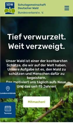 Vorschau der mobilen Webseite www.sdw.de, Schutzgemeinschaft Deutscher Wald