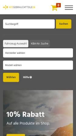Vorschau der mobilen Webseite www.kfzgebrauchtteile24.de, Autoverwertung Bertelwick