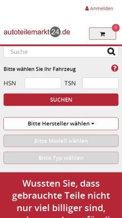 Vorschau der mobilen Webseite www.autoteilemarkt24.de, Autoverwertung Lechmann oHG