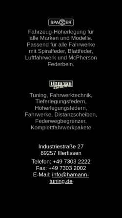 Vorschau der mobilen Webseite www.hamann-tuning.de, Hamann-Tuning