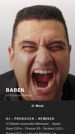 Vorschau der mobilen Webseite www.babek.de, DJ Babek