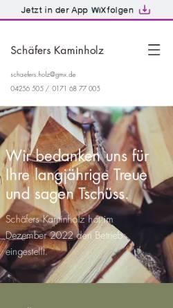 Vorschau der mobilen Webseite www.kaminholz.net, Schäfers Kaminholz