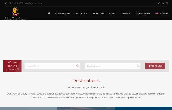 Vorschau von www.atctravel.co.za, ATC African Travel Concept (Pty) Ltd.