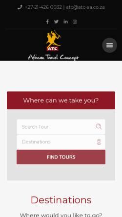 Vorschau der mobilen Webseite www.atctravel.co.za, ATC African Travel Concept (Pty) Ltd.