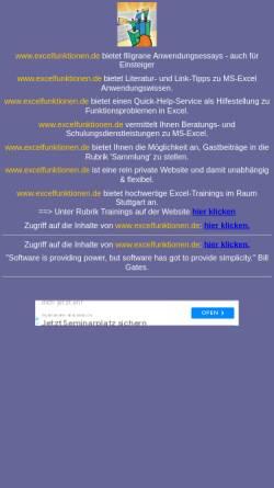Vorschau der mobilen Webseite www.excelfunktionen.de, Excelfunktionen