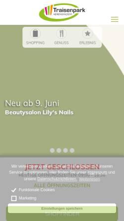 Vorschau der mobilen Webseite www.traisenpark.at, Traisenpark 18 Vermietungs GmbH