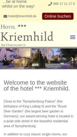Vorschau der mobilen Webseite www.kriemhild.de, Hotel Kriemhild
