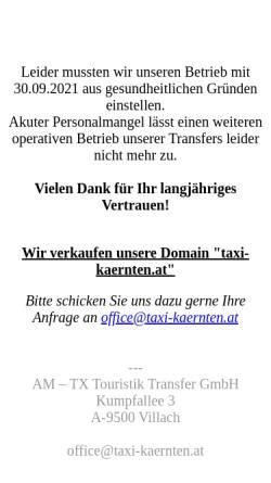 Vorschau der mobilen Webseite www.taxi-kaernten.at, Taxi Hoffmann