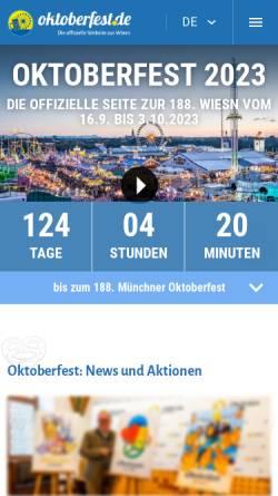 Vorschau der mobilen Webseite www.oktoberfest.de, Oktoberfest.de