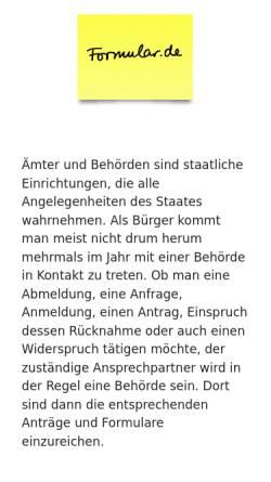 Vorschau der mobilen Webseite www.formular.de, Formulare