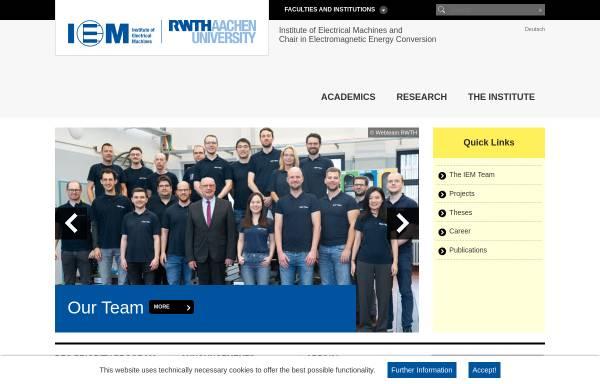 Vorschau von www.iem.rwth-aachen.de, Institut für Elektrische Maschinen der RWTH Aachen