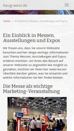 Vorschau der mobilen Webseite www.haug-west.de, Haug-West Messe und Ausstellungsgesellschaft mbH