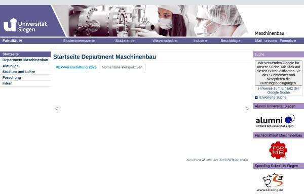 Vorschau von www.uni-siegen.de, Fachbereich Maschinentechnik der Universität Siegen