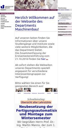 Vorschau der mobilen Webseite www.uni-siegen.de, Fachbereich Maschinentechnik der Universität Siegen