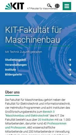 Vorschau der mobilen Webseite www.mach.uni-karlsruhe.de, Fakultät für Maschinenbau, Universität Karlsruhe (TH)