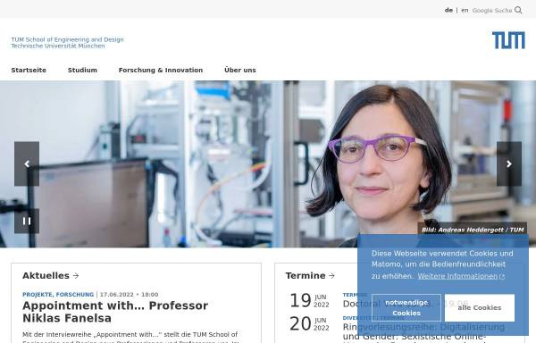 Vorschau von www.mw.tum.de, Fakultät für Maschinenwesen der Technische Universität München