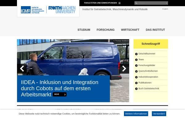 Vorschau von www.igm.rwth-aachen.de, Institut für Getriebetechnik und Maschinendynamik, RWTH Aachen