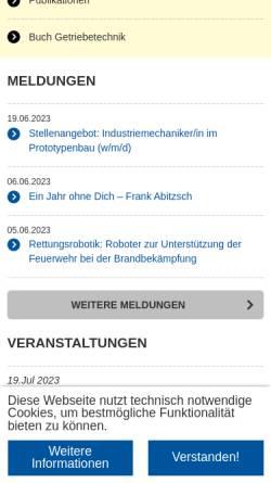 Vorschau der mobilen Webseite www.igm.rwth-aachen.de, Institut für Getriebetechnik und Maschinendynamik, RWTH Aachen