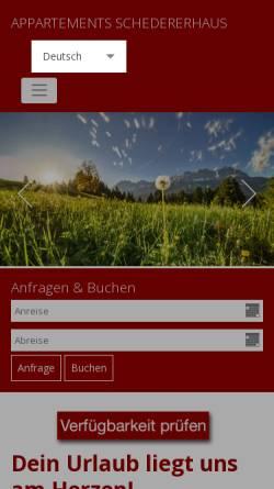 Vorschau der mobilen Webseite www.schedererhaus.at, Appartements Schedererhaus in Going am Wilden Kaiser in Tiorl