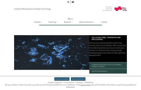 Vorschau von www.ipz.tugraz.at, Institut für Papier-, Zellstoff- und Fasertechnik der Technischen Universität Graz