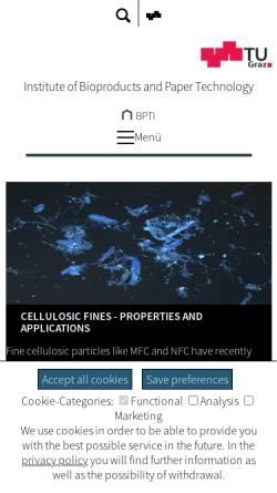 Vorschau der mobilen Webseite www.ipz.tugraz.at, Institut für Papier-, Zellstoff- und Fasertechnik der Technischen Universität Graz