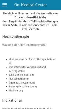 Vorschau der mobilen Webseite www.dr-med-may.de, Hochtontherapie nach Dr. Hans-Ulrich May