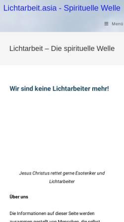 Vorschau der mobilen Webseite www.lichtarbeit.asia, Lichtarbeit.asia