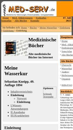 Vorschau der mobilen Webseite www.med-serv.de, Sebastian Kneipp: Meine Wasserkur
