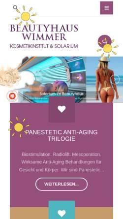 Vorschau der mobilen Webseite www.beautyhaus.at, Wimmer Cosmetics GmbH