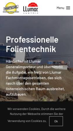 Vorschau der mobilen Webseite www.haentschel.at, Häntschel Sonnenschutzfolien