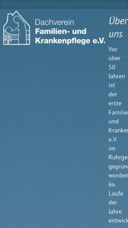 Vorschau der mobilen Webseite www.familien-krankenpflege.de, Familien- und Krankenpflege Dachverein e.V.