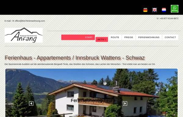 Vorschau von www.tirol-ferienwohnung.com, Gästehaus Anfang Apartments