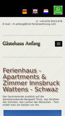 Vorschau der mobilen Webseite www.tirol-ferienwohnung.com, Gästehaus Anfang Apartments