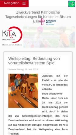 """Vorschau der mobilen Webseite www.kita-zweckverband.de, Zweckverband """"Katholische Tageseinrichtungen für Kinder im Bistum Essen"""""""