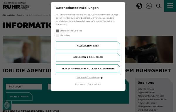 Vorschau von www.idruhr.de, Informationsdienst Ruhr (IDR)