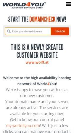 Vorschau der mobilen Webseite www.wolff.at, Wolff - Unterwäsche