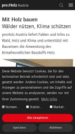 Vorschau der mobilen Webseite www.proholz.at, PROHOLZ