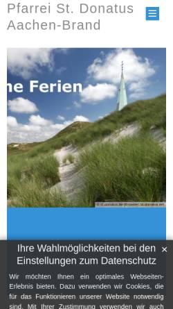 Vorschau der mobilen Webseite www.st-donatus.de, Messdiener St. Donatus & Erlöserkirche aus Aachen-Brand