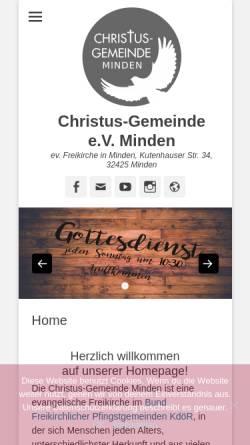 Vorschau der mobilen Webseite www.christus-gemeinde-minden.de, Christus-Gemeinde e.V.