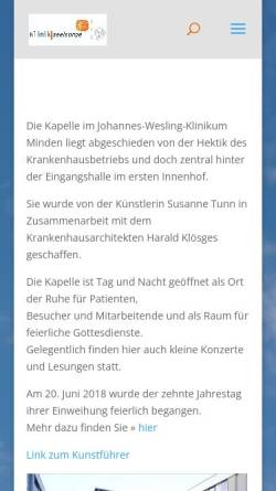 Vorschau der mobilen Webseite www.krankenhauskapelle-minden.de, Evangelische Krankenhausseelsorge im Johannes Wesling Klinikum