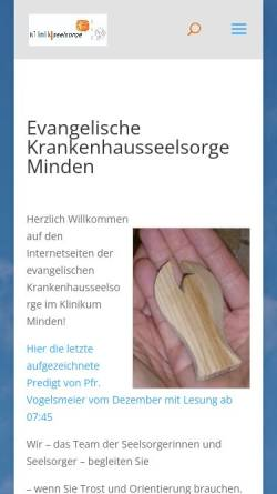 Vorschau der mobilen Webseite www.krankenhausseelsorge-minden.de, Evangelischen Krankenhausseelsorge