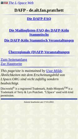 Vorschau der mobilen Webseite www.lspace.de, [de.alt.fan.pratchett] DAFP