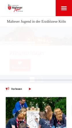 Vorschau der mobilen Webseite www.malteserjugend-koeln.de, Malteser Jugend in der Erzdiözese Köln