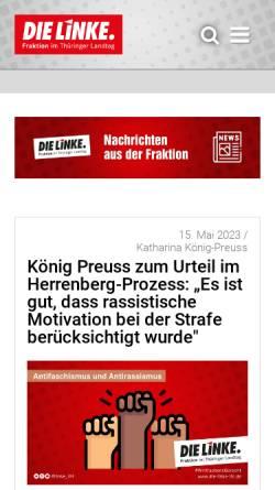 Vorschau der mobilen Webseite www.die-linke-thl.de, Die Linke.-Landtagsfraktion Thüringen